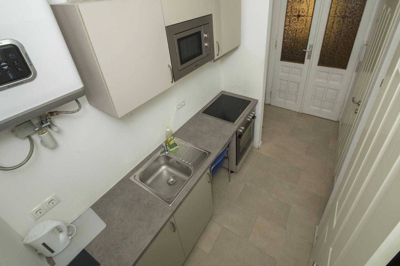 Monteurunterkunft Top M1 in 1220 Doanustadt DW1 Übersicht Küche